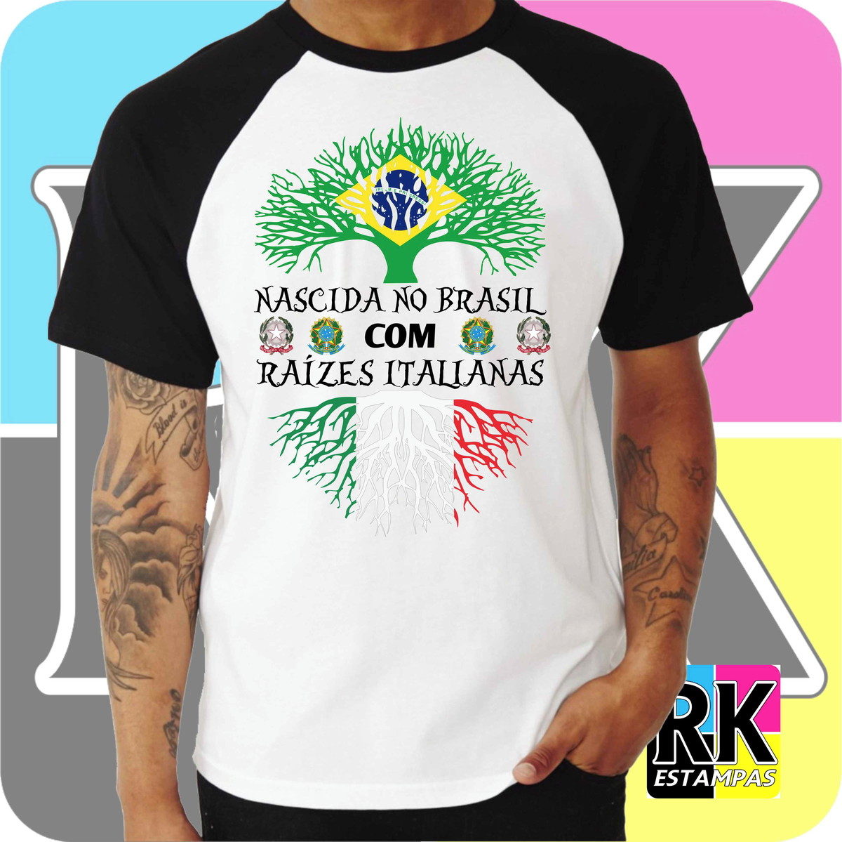 Camiseta RAGLAN Raízes - Itália no Elo7  d08abf168ccf7