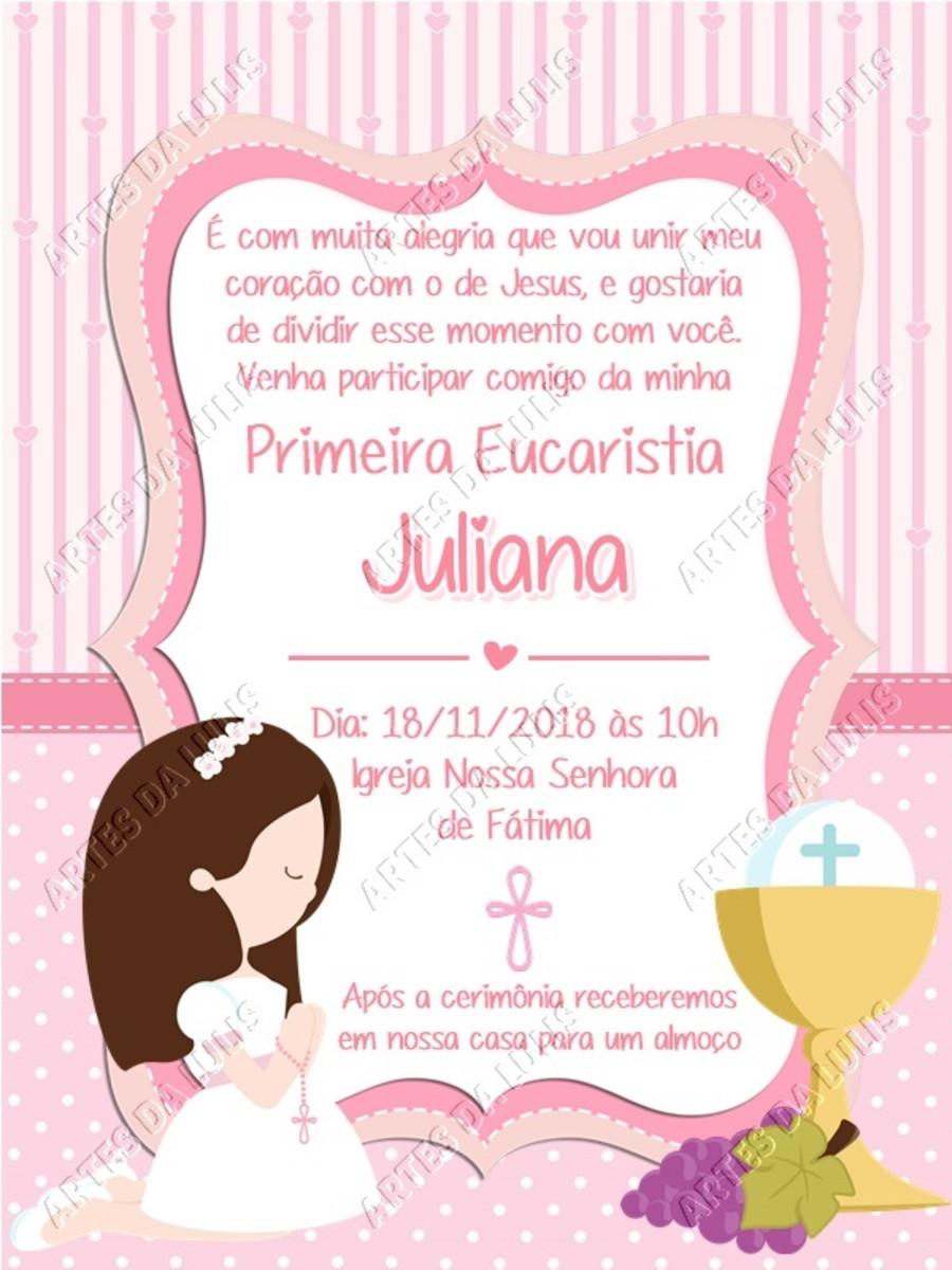 Convite Digital Primeira Eucaristia Menina