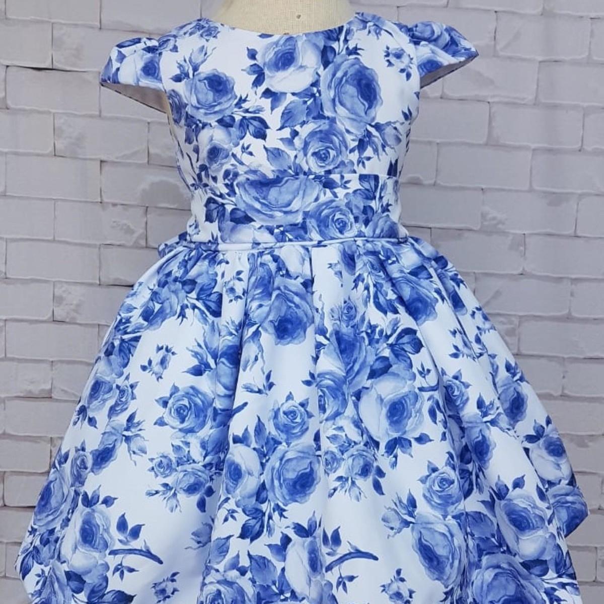 ca1b01270f Vestido Infantil Floral Azul - Festa e Daminha no Elo7
