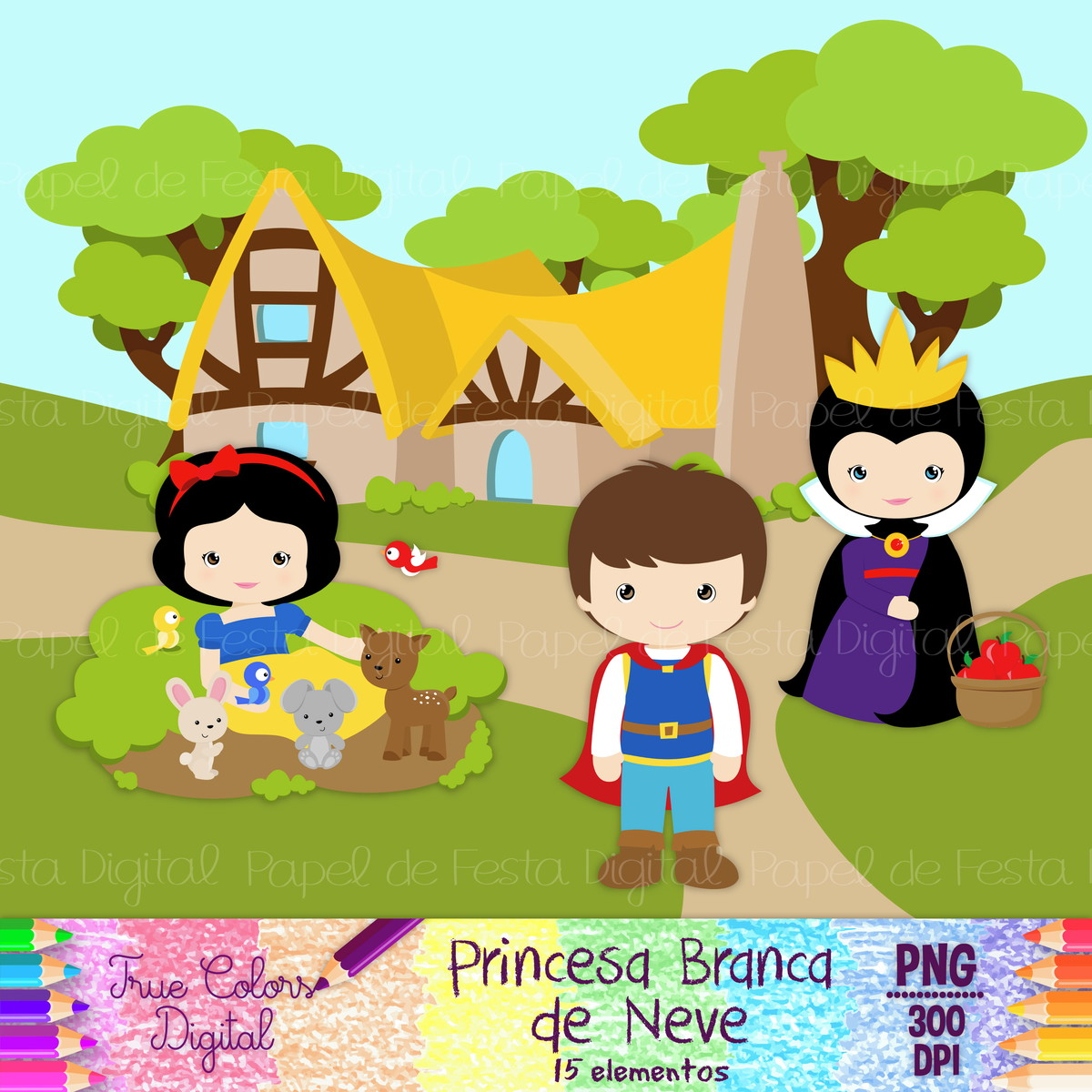 Kit Digital Princesa Branca De Neve No Elo7 True Colors Digital