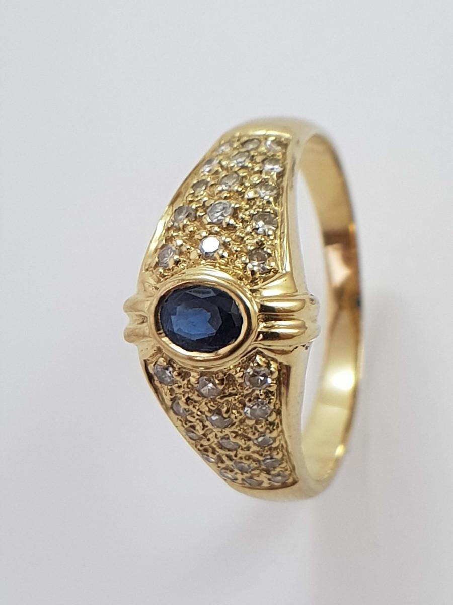 04d7f73b98d6a Anel de Ouro 18k com Safiras e Diamantes no Elo7   Garimpo ...