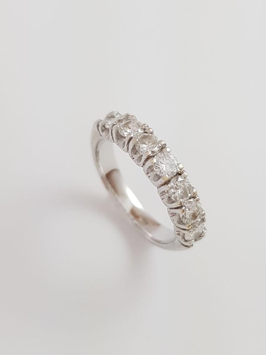 8b4315860c84c Meio Aliança de Ouro Branco com Diamantes (15 pontos cada) no Elo7 ...