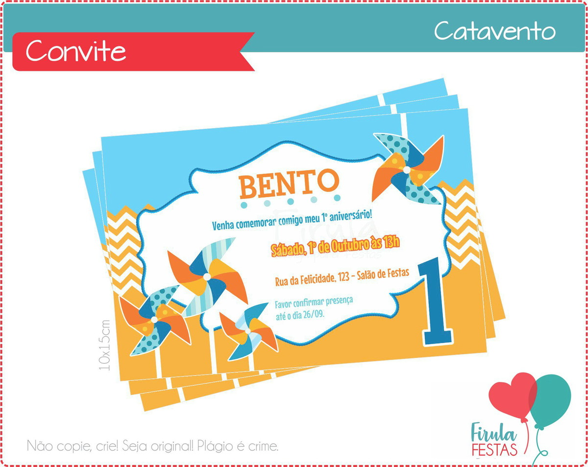 Convite Digital Catavento No Elo7 Firula Festas 76deea