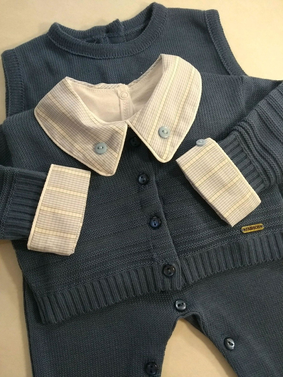83332f144e Macacão cavado com casaquinho 2 pçs azul jeans menino no Elo7 ...