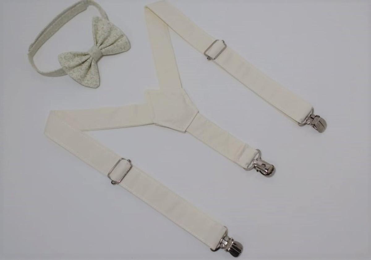 53ca441bcf Suspensório e gravata borboleta bege nude infantil no Elo7