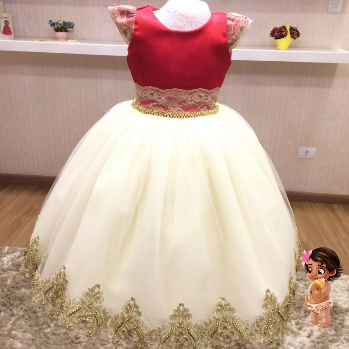 Vestido De Festa Tema Moana Baby Infantil