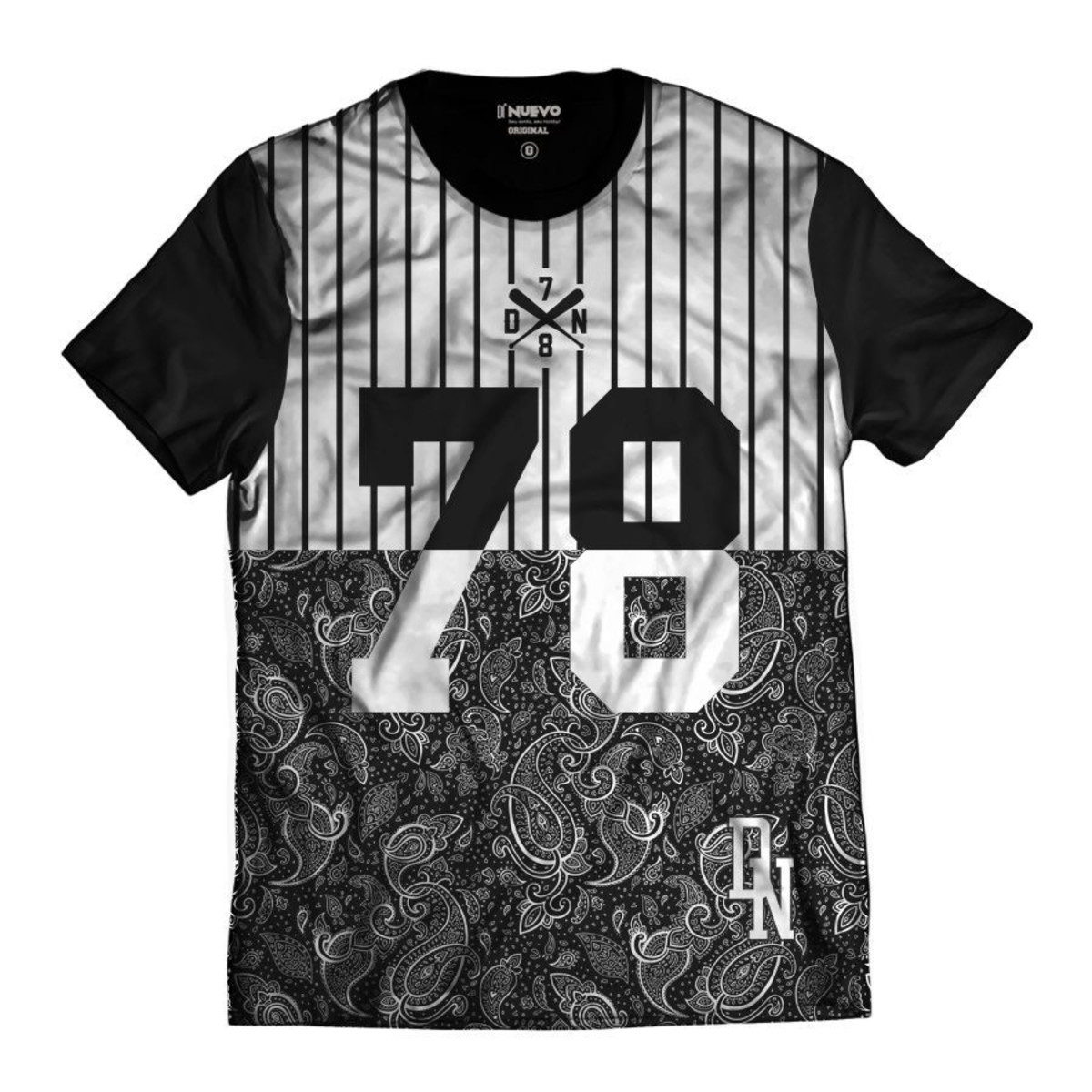 43276a2d74 Camisa Swag Beisebol 78 Básica Listrada DN Preta e Branca no Elo7 ...