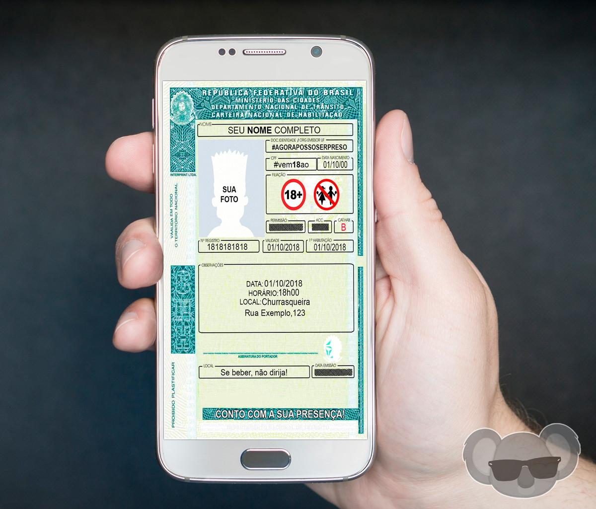 7c393a705 Convite Digital - Carteira de Motorista (CNH) no Elo7