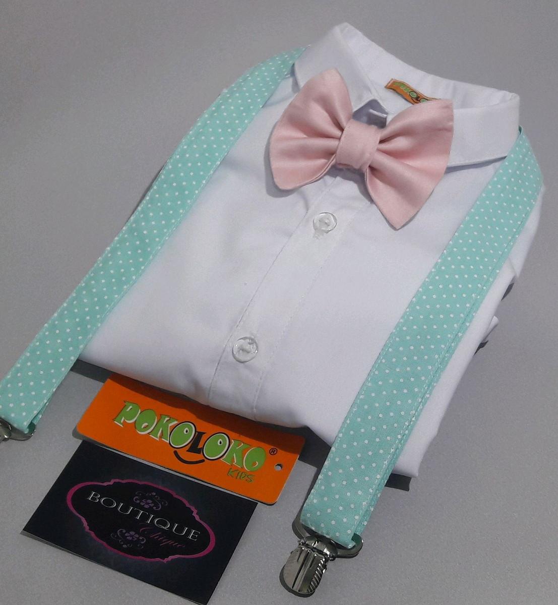 b59a2ccdda Camisa Branca Social Infantil+Gravata e suspensorio no Elo7 ...