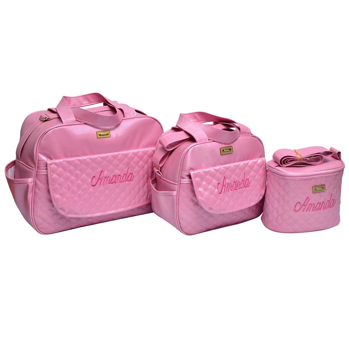 74f57c664 Kit Bolsa Bebê Para Saída Maternidade Menina 3 Peças Luxo no Elo7 ...