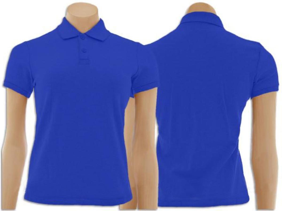 Camiseta Gola Polo Feminino Azul Royal no Elo7   Inverse Artigos ... d12b820188