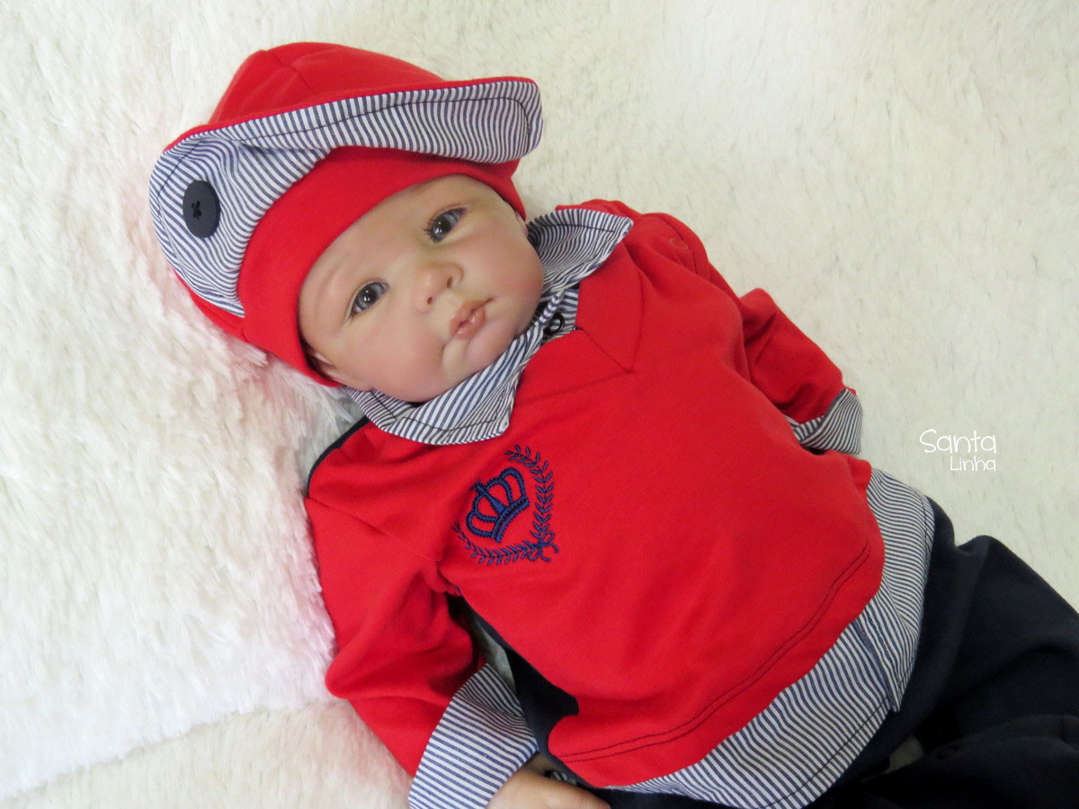 17ba1cabdf6a Saída Maternidade Príncipe Vermelho de Malha Com Manta no Elo7 ...