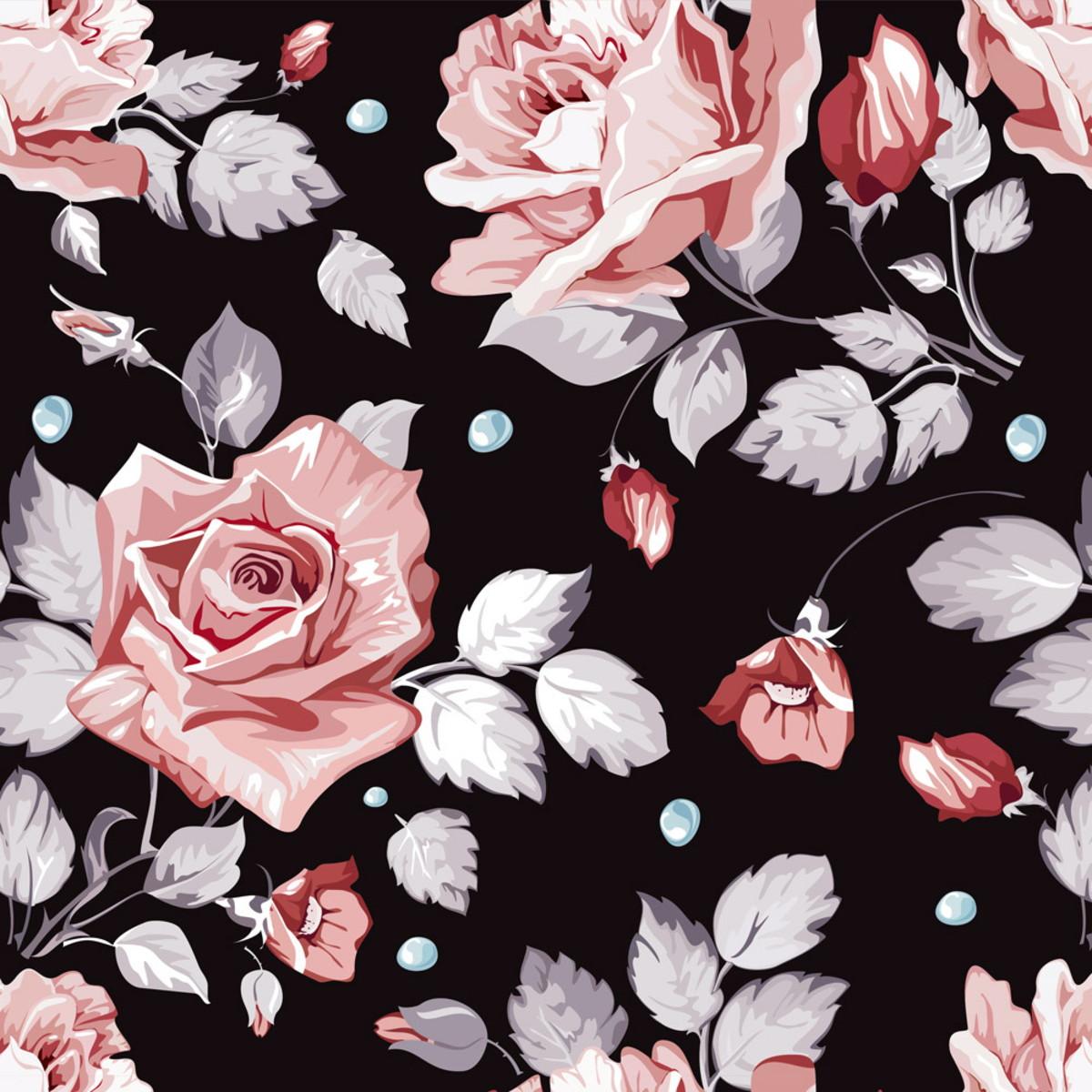 Papel De Parede Floral Rosa Com Fundo Preto Jabuti No Elo7