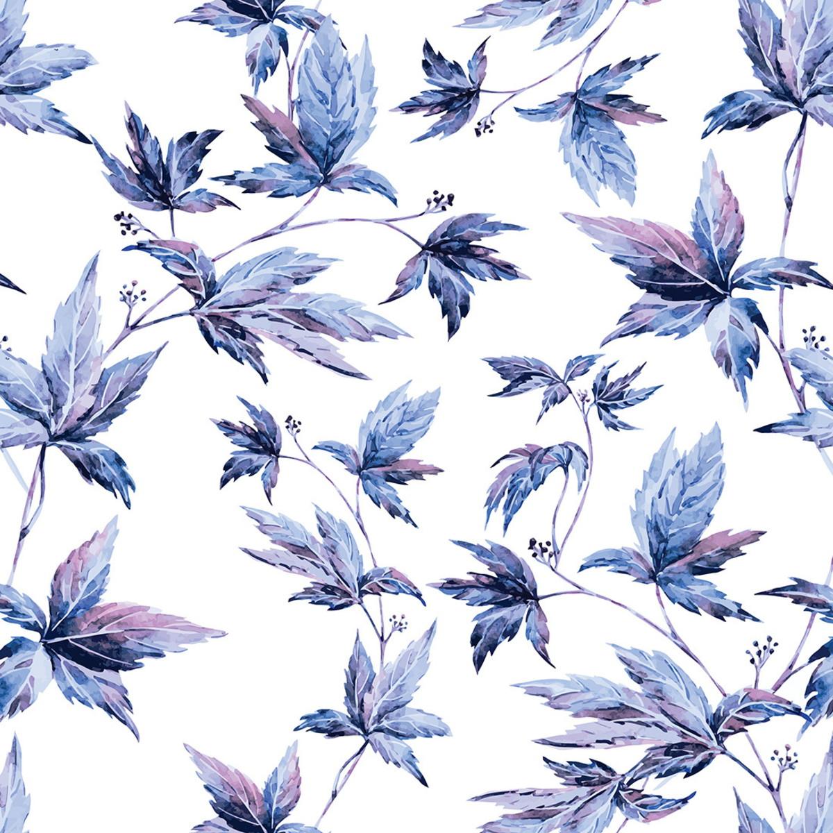 Papel De Parede Flores Da Primavera Azul Fundo Branco No Elo7