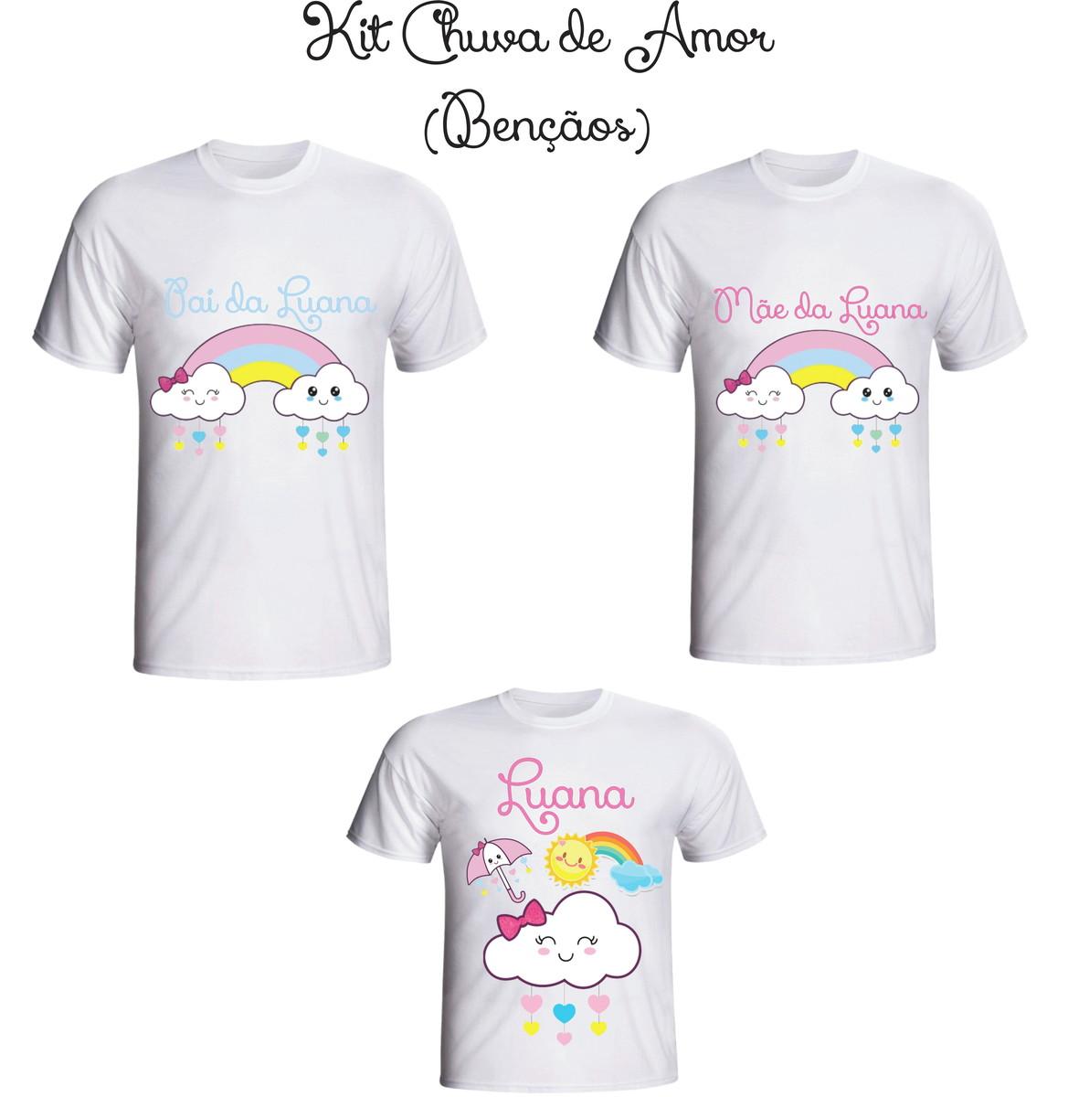 Camiseta Chuva de Amor - Bençãos Kit  03 - Personalizada no Elo7 ... 4431679e301f5