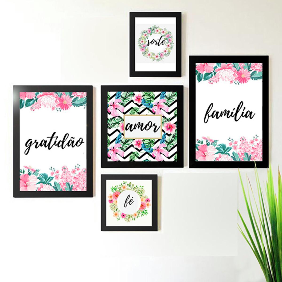 58d310332 Conjunto 5 Quadros Floral Frases Amor Familia Gratidão no Elo7