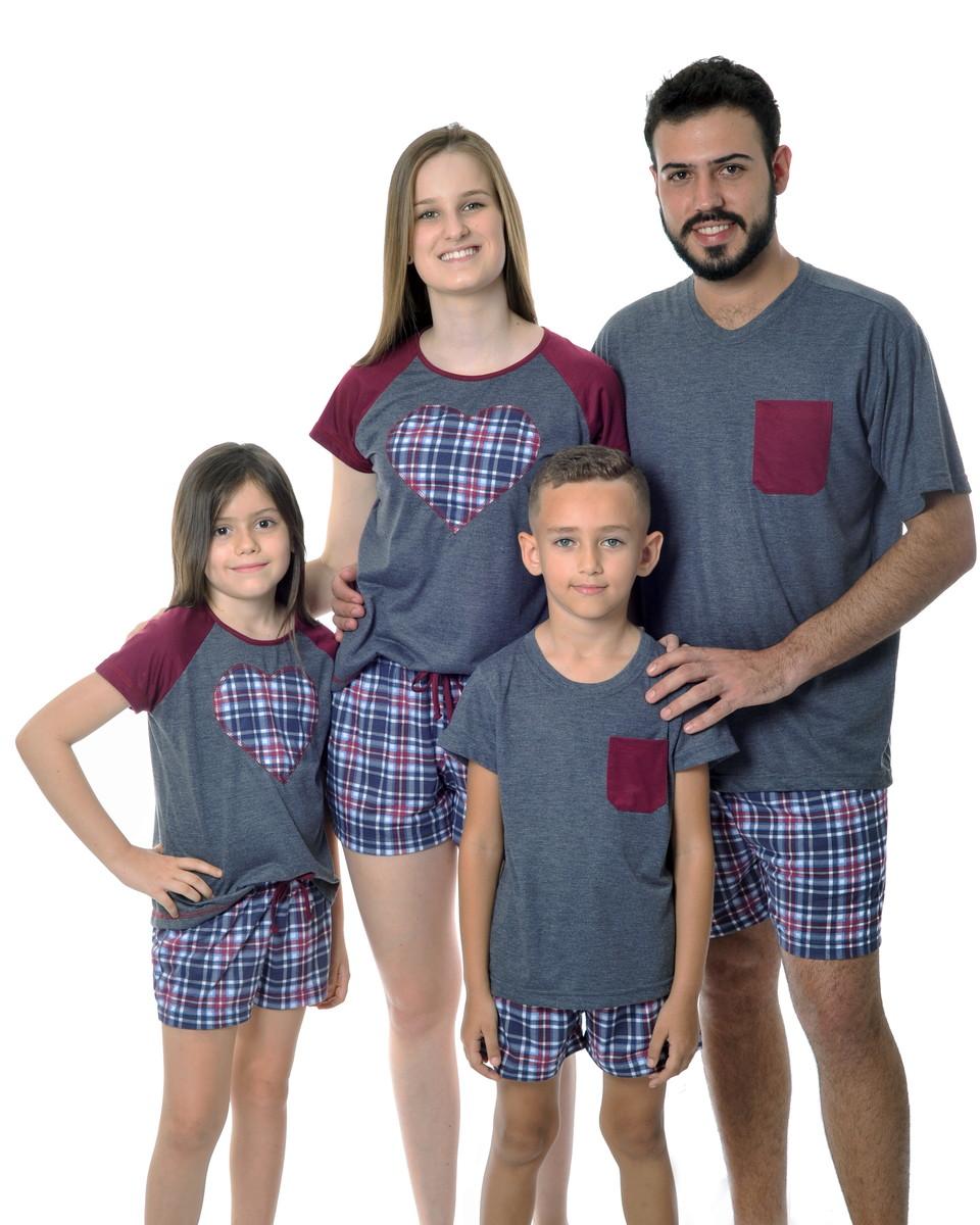 3443bd1332c155 Pijamas Kit Família - 4 pijamas Chumbo Mescla com Xadrez
