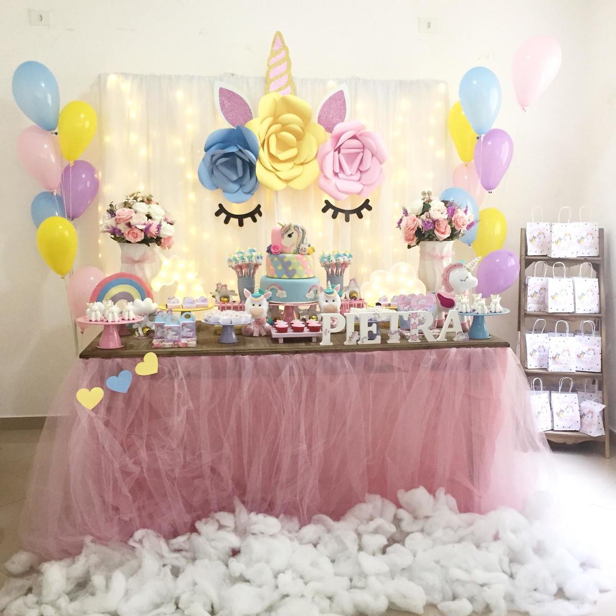 Decoraç u00e3o Unicornio no Elo7 JF Festas Personalizadas (D7D16C) -> Aluguel Decoração Festa Infantil Unicornio