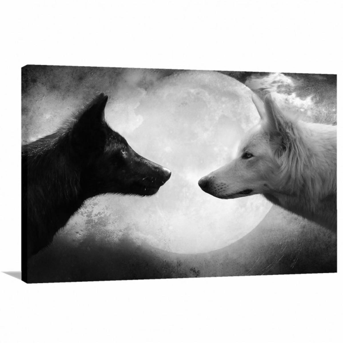 5031fe0e5 Quadro decorativo Lobos Preto e Branco com Tela em Tecido no Elo7 ...