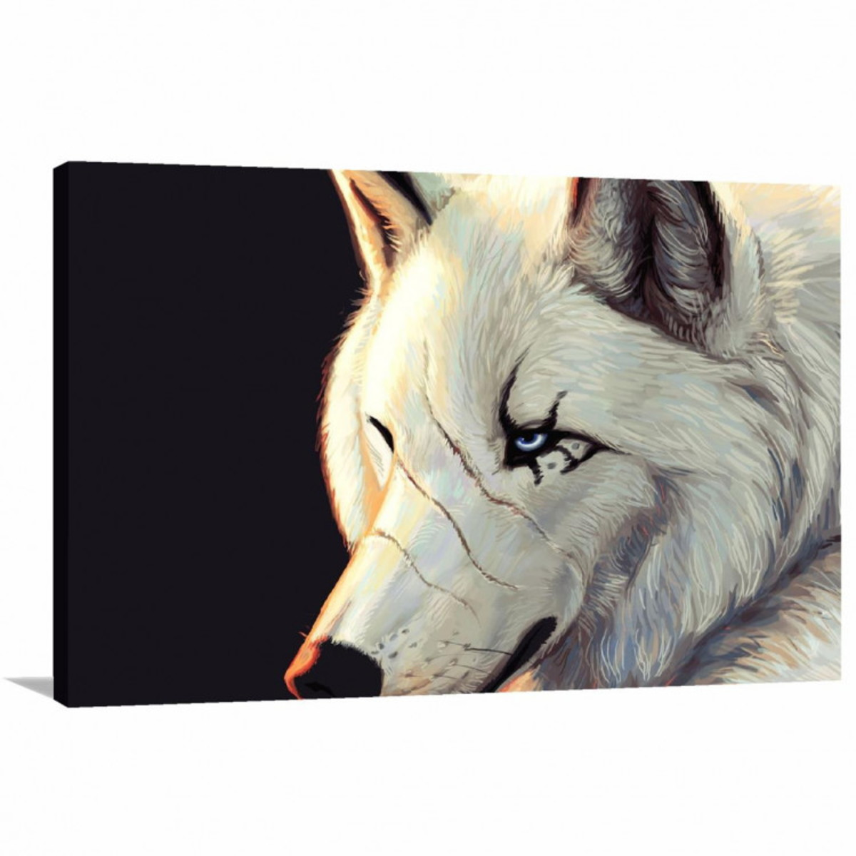 c882bdd01 Quadro decorativo Lobo Branco Animais com Tela de Tecido no Elo7 ...