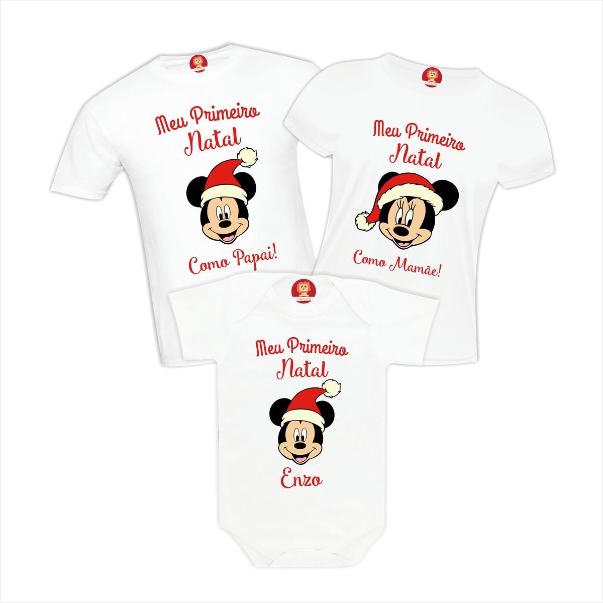 5e63ad9d7525 Kit Camisetas Primeiro Natal em Família Mickey e Minnie no Elo7 ...