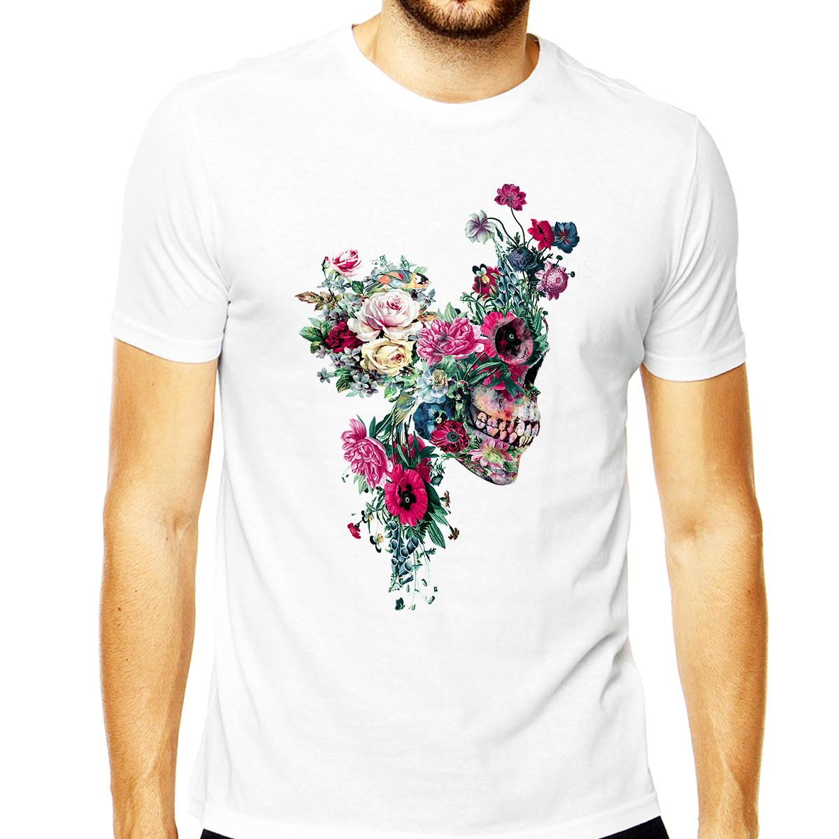 Camisetas Skull Floral Caveiras Masculinas Camisa Skull Flor no Elo7 ... 8b233593a84