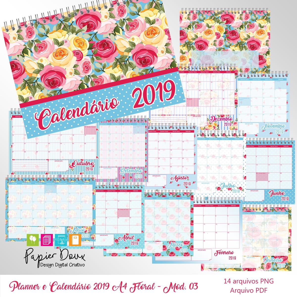 Calendario.Planner Mensal E Calendario 2019 A4 Floral Modelo 03