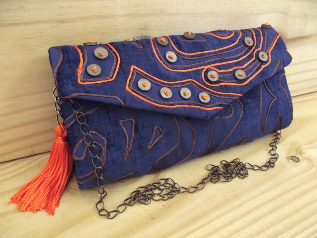 95dd0e3b4 Bolsa boho azul e laranja no Elo7   DaGi Bolsas (D8B20B)
