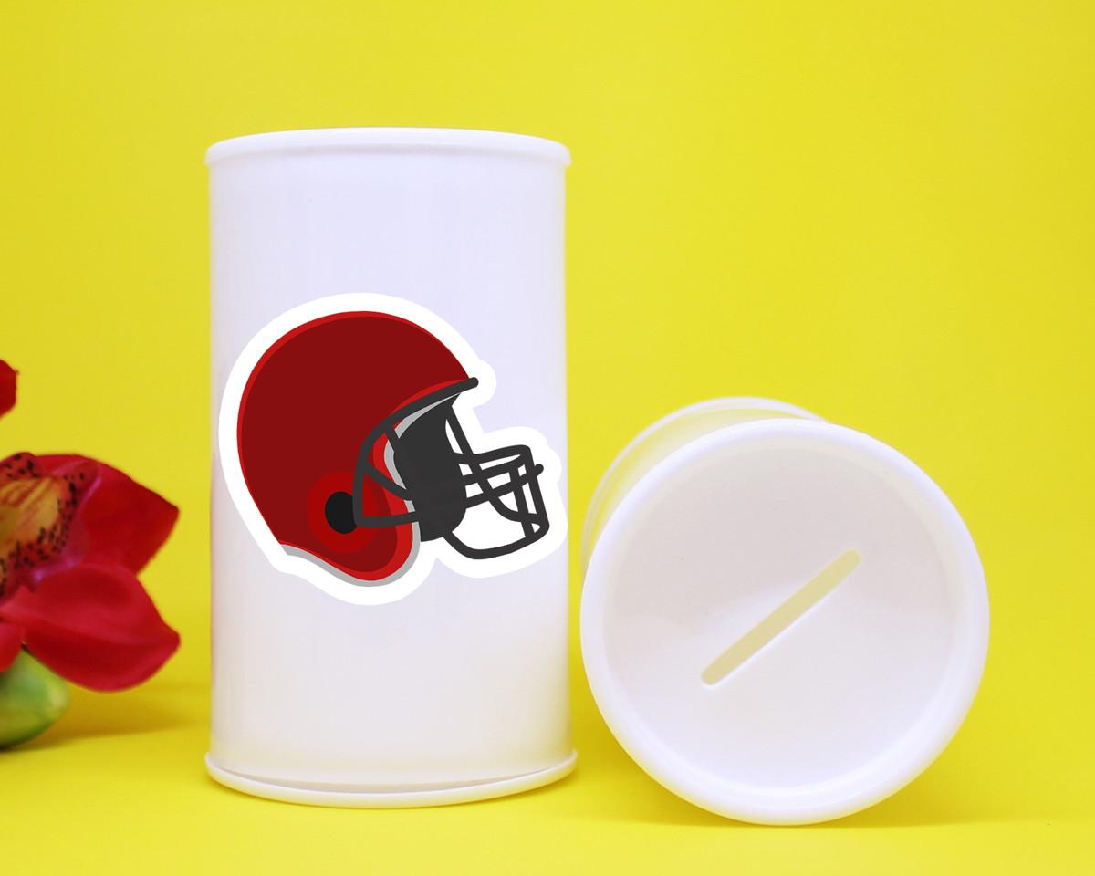 93cc1d0f98 Cofrinho de plástico com adesivo capacete futebol americano no Elo7 ...
