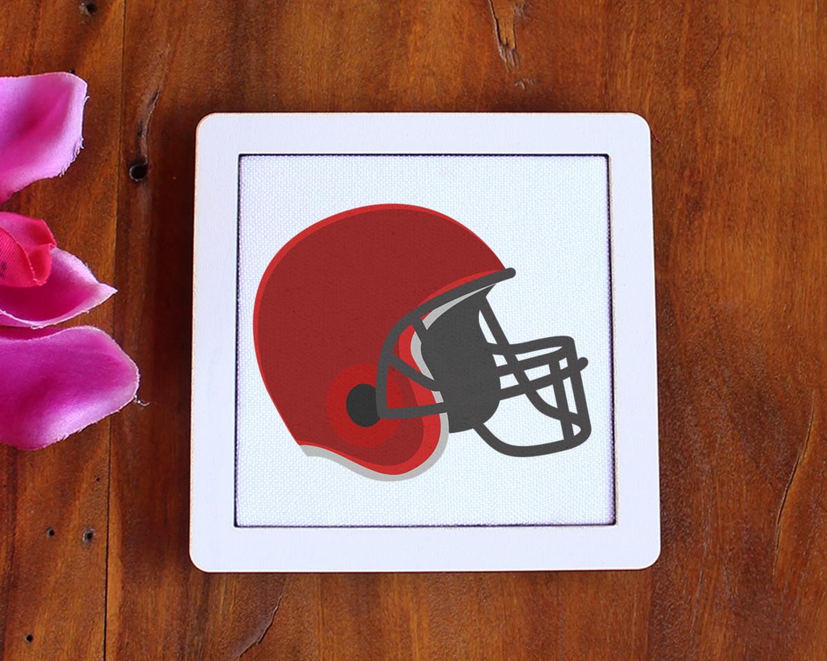 b4146fc59f Placa quadrinho com tecido sublimado - capacete futebol no Elo7