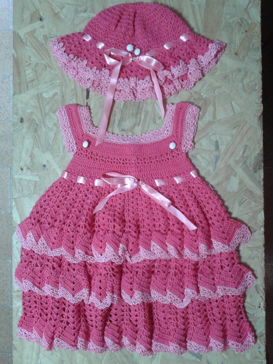 c611cb192e18d Vestido Doçura infantil em crochê com Chapéu no Elo7