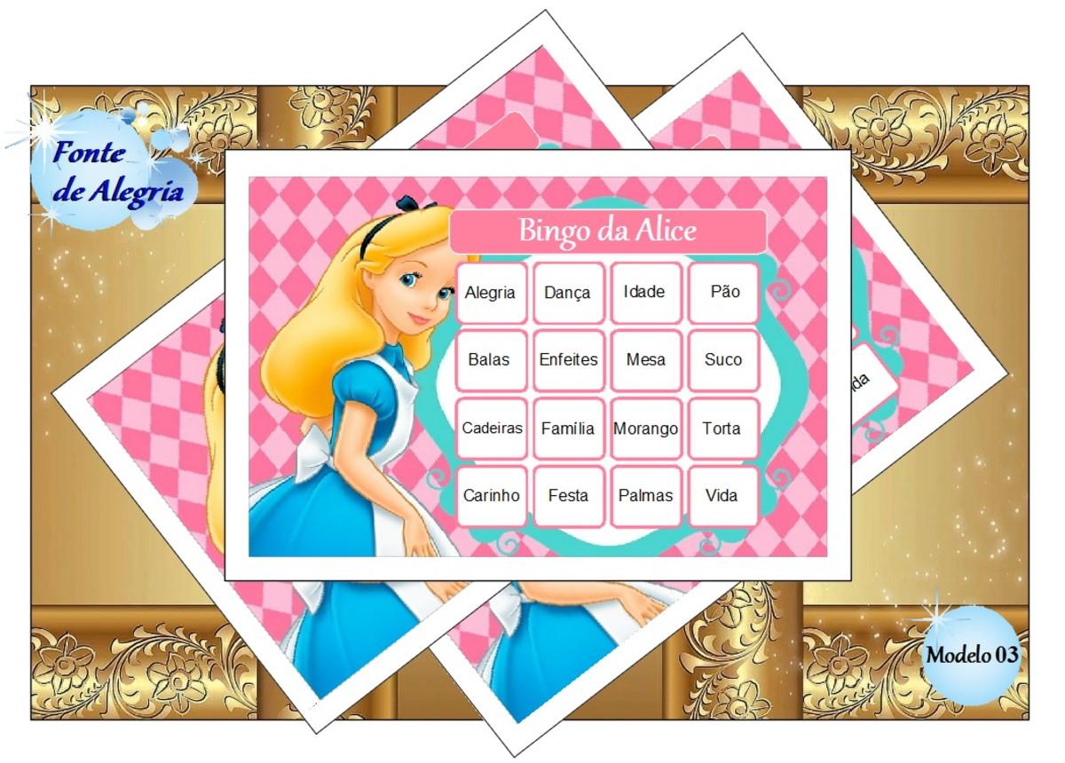 36e07ae071952 Bingo de Aniversário para imprimir - Alice no país no Elo7
