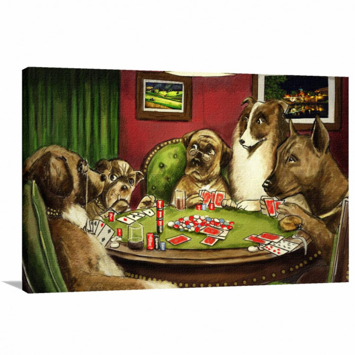 64489c9905e Quadro decorativo Poker - Cachorros Jogando - Tela em Tecido no Elo7 ...