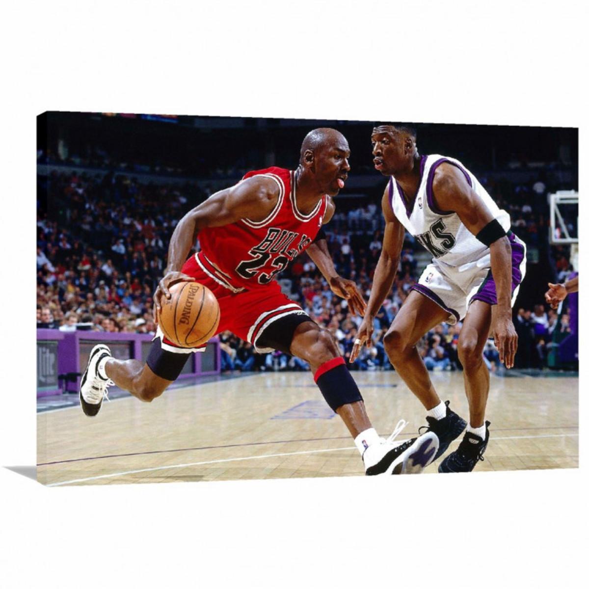 fa4058b1c0e Quadro Michael Jordan Jogando decorativo Tela em Tecido no Elo7 ...