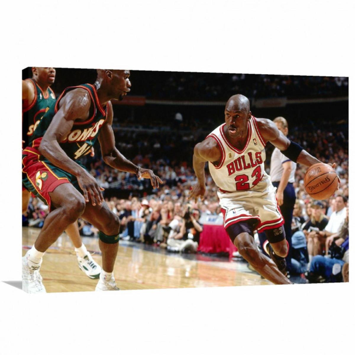 c4c1279c6df Quadro decorativo Michael Jordan Jogando - Tela em Tecido no Elo7 ...