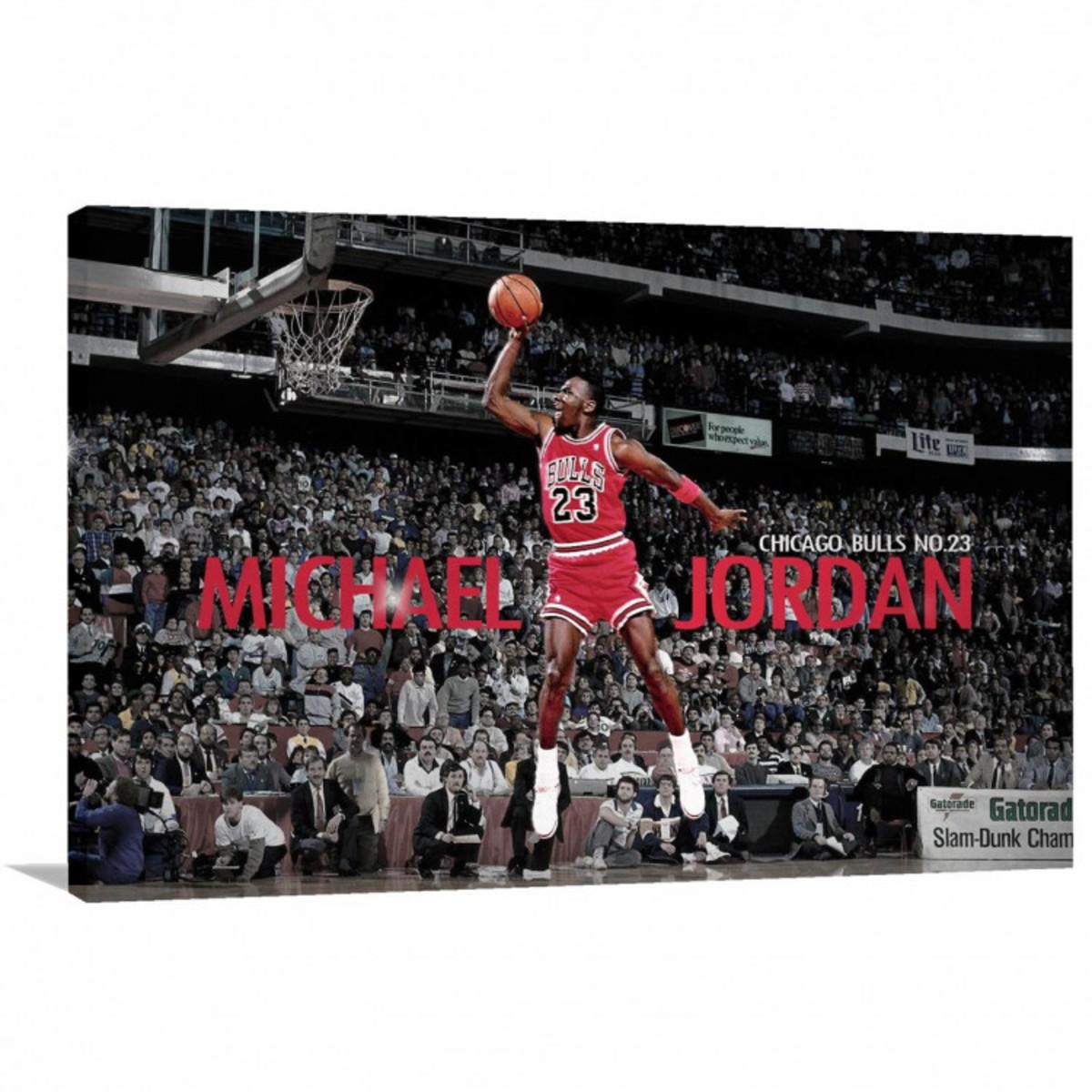 6cae2d2cd72 Quadro decorativo Michael Jordan Enterrando com Tela em Teci no Elo7 ...
