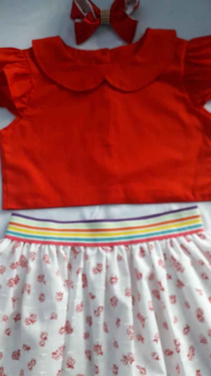 Conjunto infantil menina floral vermelho no Elo7  4619f6fbeced8