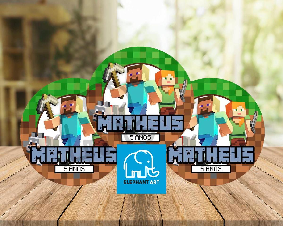 Arte Digital P/ Adesivo de Tubete Latinha - Minecraft