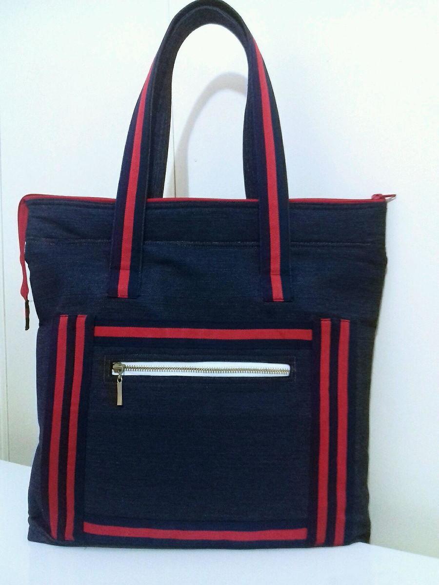 482875618 Bolsa Jeans azul vermelha no Elo7 | DaGi Bolsas (D97D14)