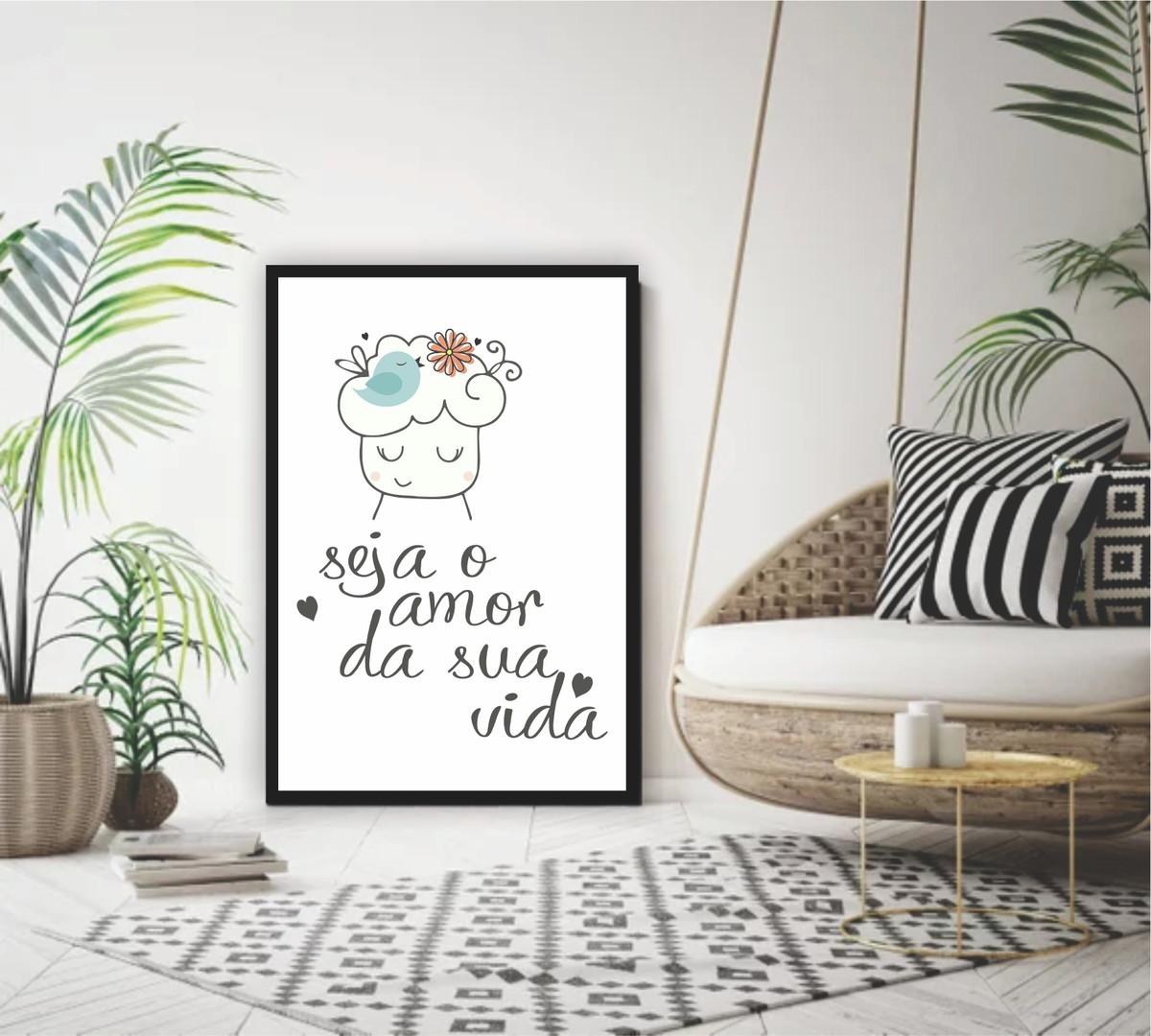 Quadro Decorativo 60x40 Frase Seja O Amor Da Sua Vida No Elo7