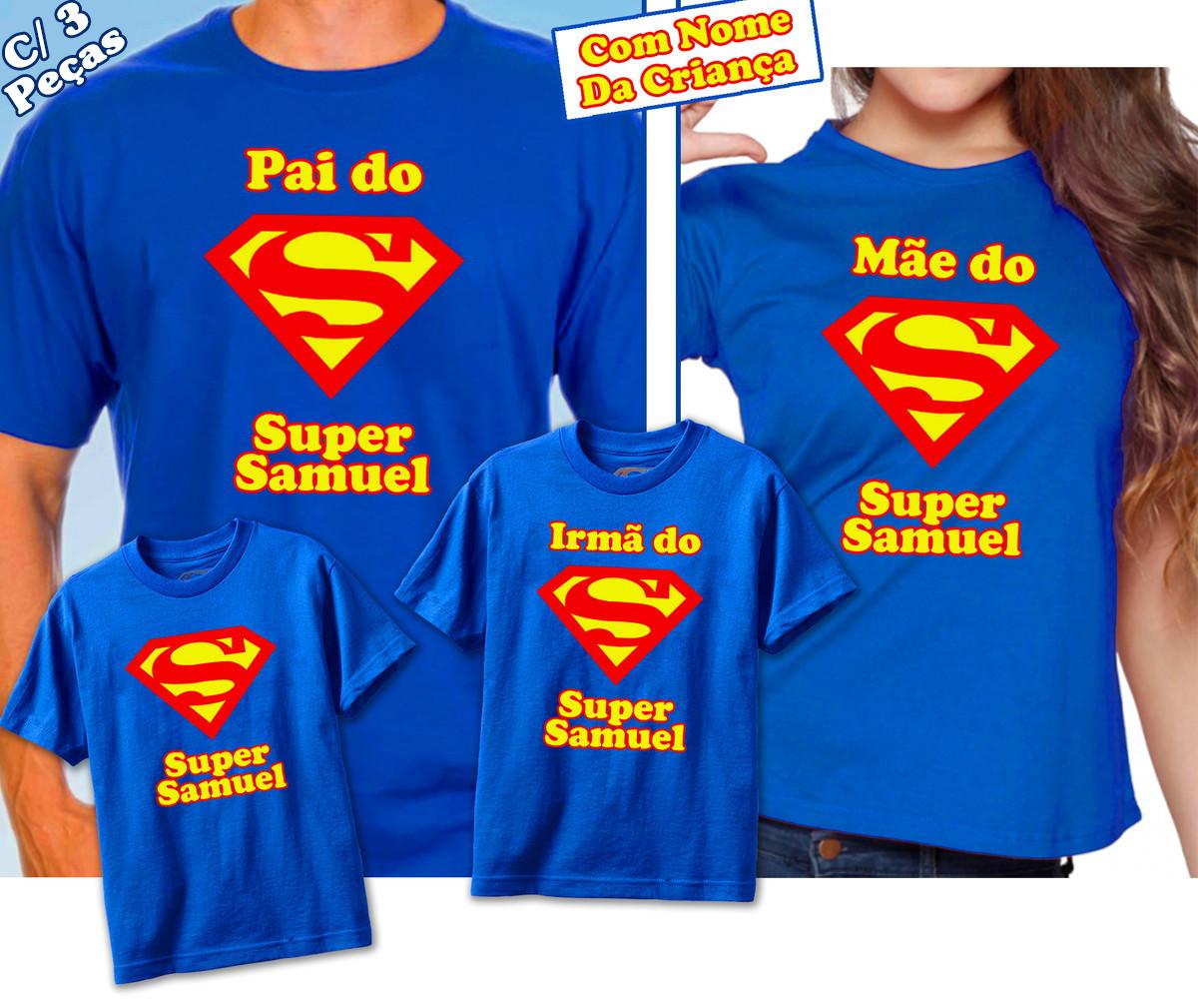 be4db198df Kit 3 Camisetas Superman com nome no Elo7