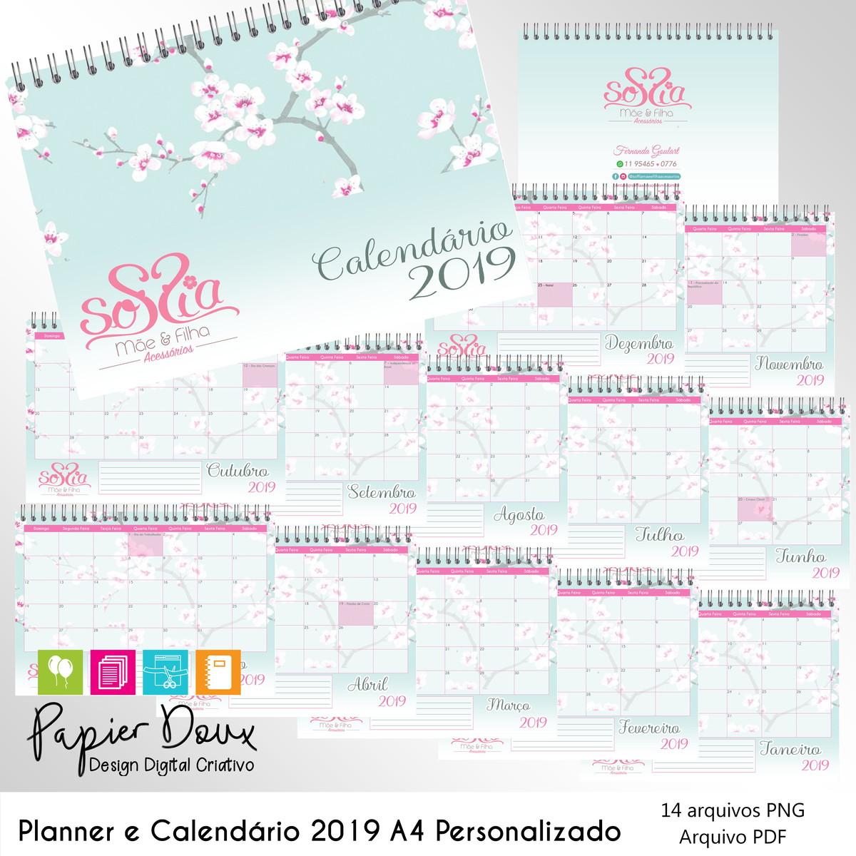 Calendario Dezembro 2019 Bonito.Planner Mensal E Calendario 2019 Personalizado