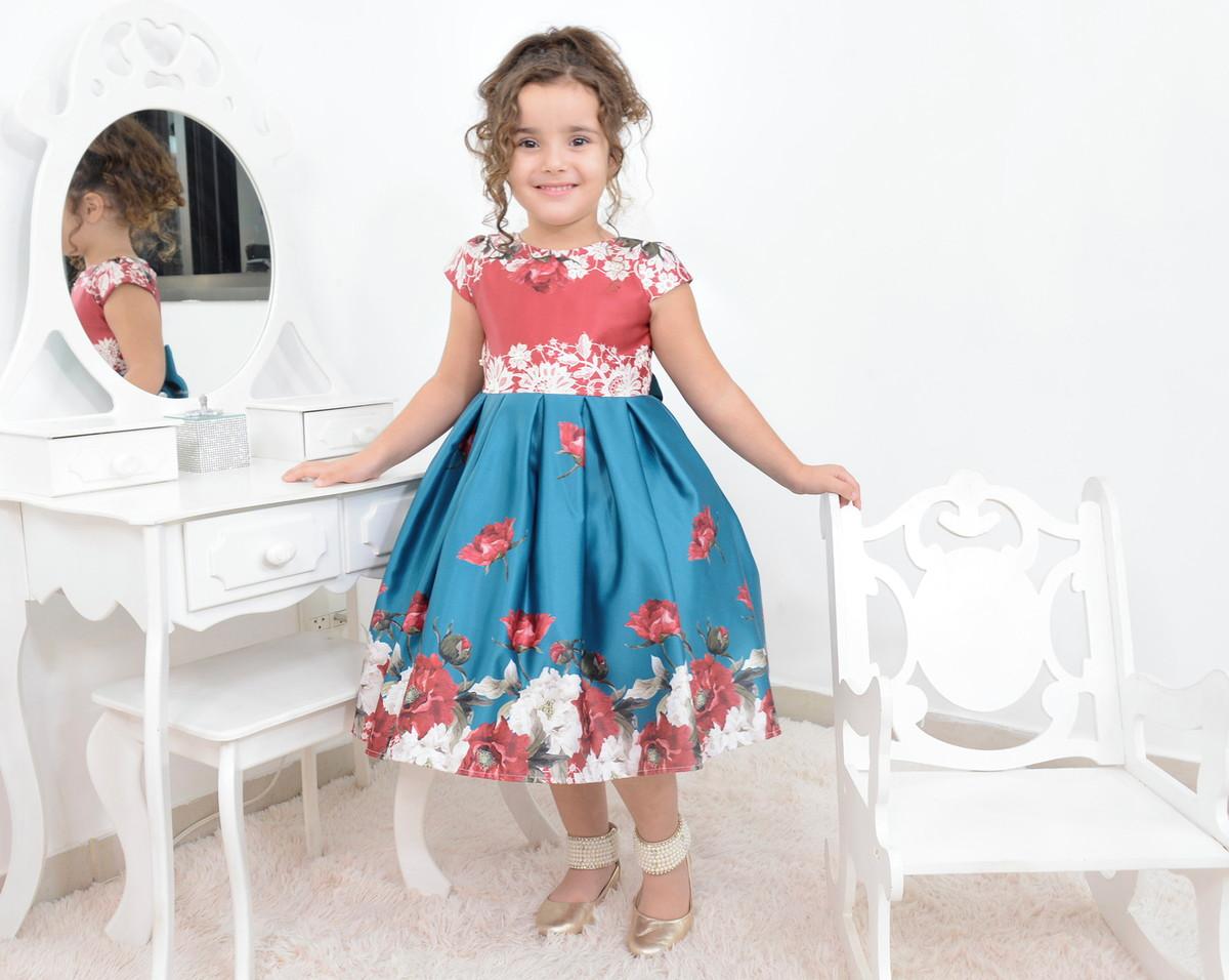 ac47f8b931 Vestido infantil floral azul com vermelho e laço bordado no Elo7 ...