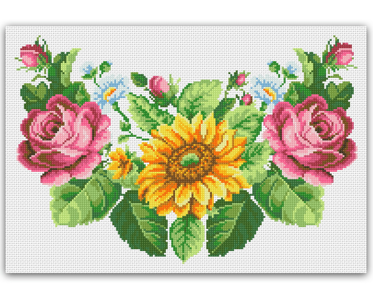 a0c2f41cf Flores - Gráfico Ponto Cruz no Elo7 | Thimage - Gráficos de Ponto ...
