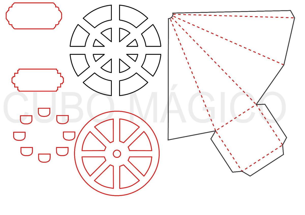 Arquivo De Corte Silhouette Cone Roda Gigante Molde Limpo No
