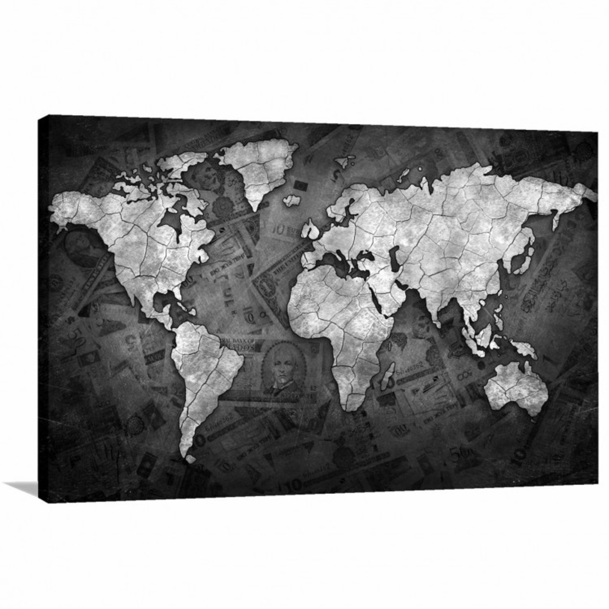 Quadro Decorativo Mapa Mundi Black Money Tela Em Tecido No