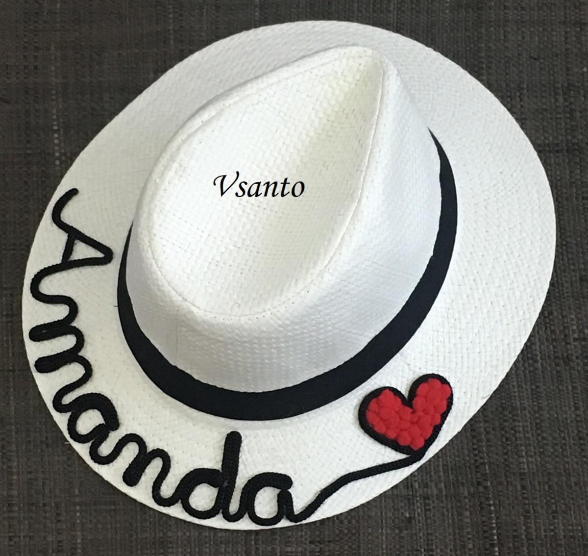 e198db2ab chapéu panamá personalizado com nome branco ou palha no Elo7