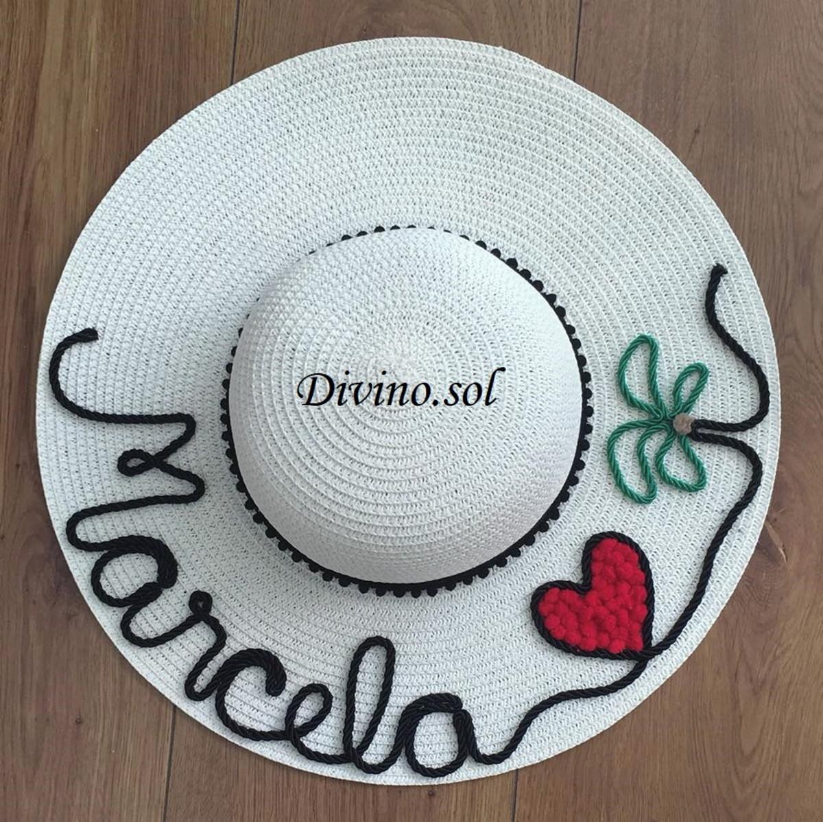 chapéu de praia personalizado com nome coração e coqueiro no Elo7 ... 63970e3e66b