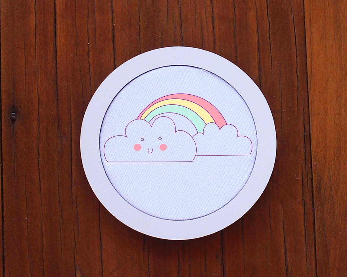 f6fad6962106 Placa/quadrinho com tecido sublimado - arco-íris e nuvens no Elo7 ...