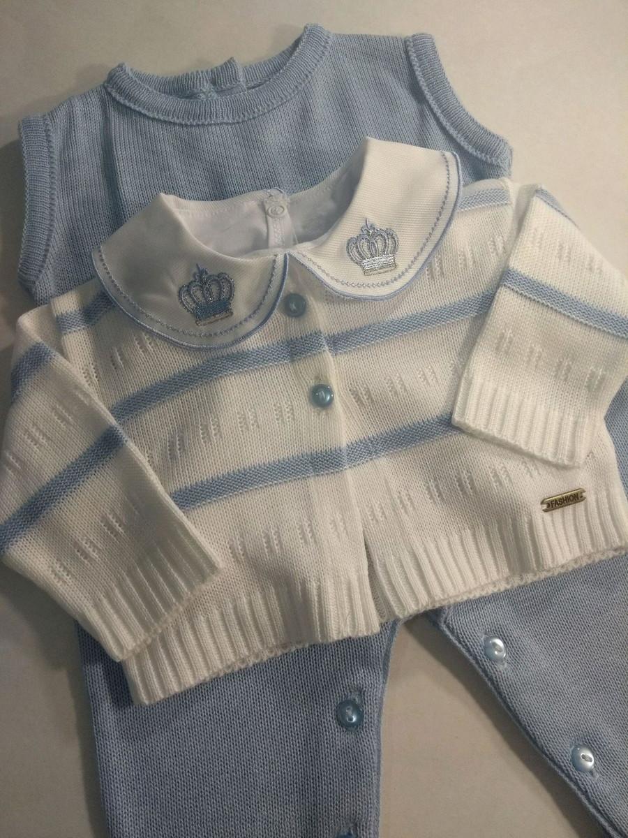 106ed21a54 Macacão cavado com casaquinho 2 pçs listras azul bebê no Elo7 ...